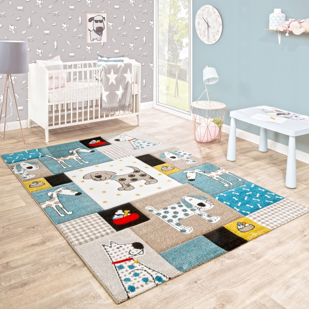 kinderteppich kinderzimmer konturenschnitt hunde welt beige blau pastellfarben kinderteppiche. Black Bedroom Furniture Sets. Home Design Ideas