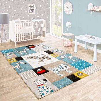 Children's Rug Nursery Contour Cut Dogs World Beige Blue Pastel Colours – Bild 1