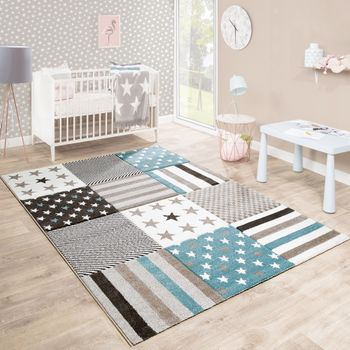 Children's Rug Nursery Contour Cut Star Pattern Beige Cream Pastel Colours – Bild 1