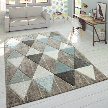 Designer Teppich Rauten Pastelltöne Beige