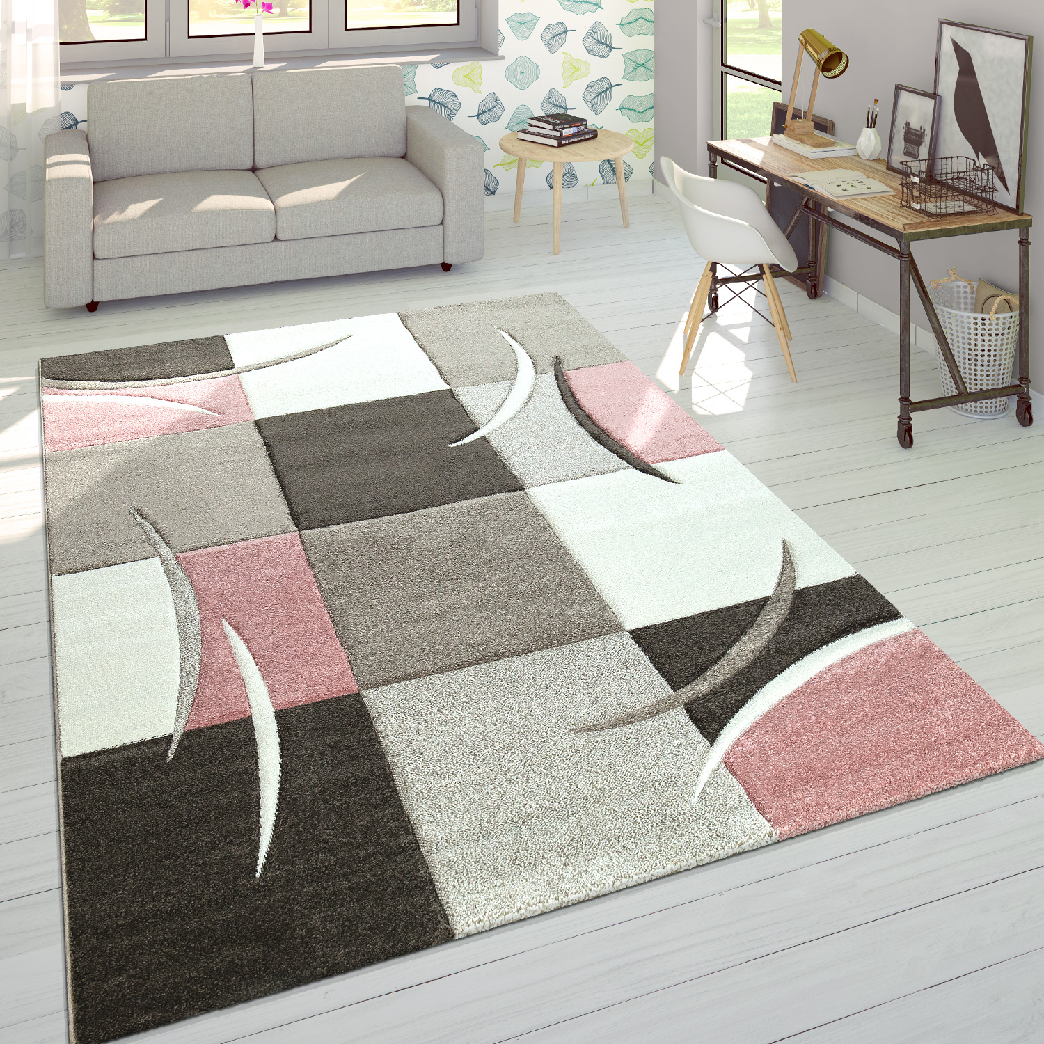 Designer Rug Modern Contour Cut Pastel Colours With Check Pattern In Beige Pink