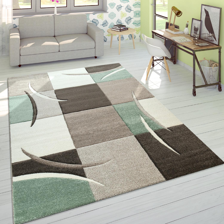 designer teppich modern konturenschnitt pastellfarben mit karo muster beige gr n teppiche. Black Bedroom Furniture Sets. Home Design Ideas