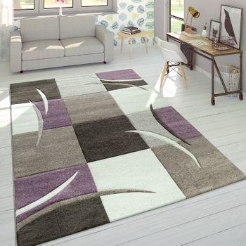 Designer Teppich Karo Pastelltöne Lila