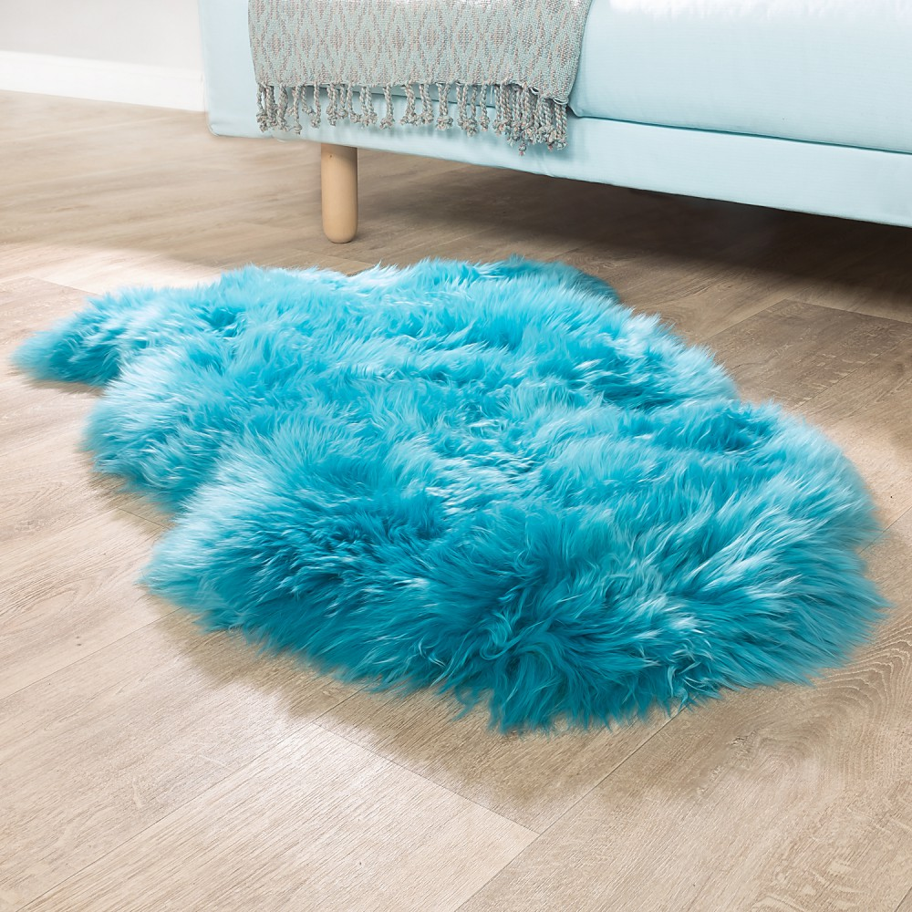 Australian Lambskin Natural fur Bedside Rug Genuine Sheepskin In Petrol Blue