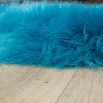 Pelliccia Di Agnello Australiana Pelliccia Naturale Scendiletto Vera Pelle Di Pecora In Blu Petrolio – Bild 2