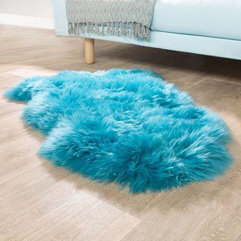 Australisches Lammfell Naturfell Bettvorleger Echtes Schaffell In Petrol Blau – Bild 1