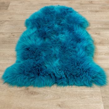 Australian Lambskin Natural fur Bedside Rug Genuine Sheepskin In Petrol Blue – Bild 4