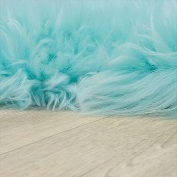 Alfombrilla De Piel Natural De Cordero Australiana Y Piel De Oveja Auténtica En Pastel Y Turquesa – Bild 2
