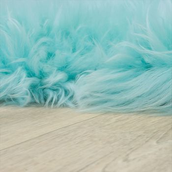 Australisches Lammfell Naturfell Bettvorleger Echtes Schaffell In Pastell Türkis – Bild 2