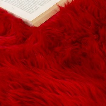 Pelliccia Di Agnello Australiana Pelliccia Naturale Scendiletto Vera Pelle Di Pecora In Rosso – Bild 3
