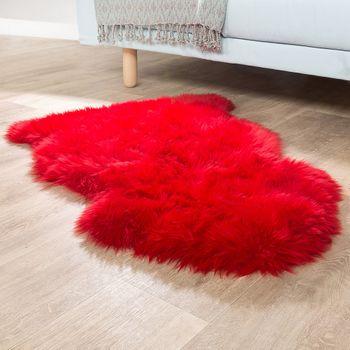 Pelliccia Di Agnello Australiana Pelliccia Naturale Scendiletto Vera Pelle Di Pecora In Rosso – Bild 1