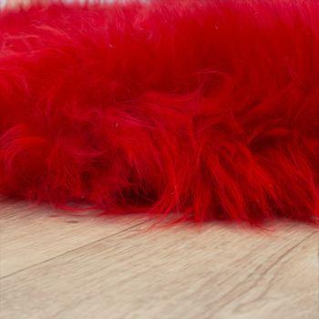 Pelliccia Di Agnello Australiana Pelliccia Naturale Scendiletto Vera Pelle Di Pecora In Rosso – Bild 2