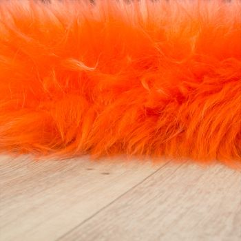 Australian Lambskin Natural fur Bedside Rug Genuine sheepskin In Orange – Bild 2