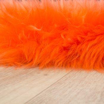 Pelliccia Di Agnello Australiana Pelliccia Naturale Scendiletto Vera Pelle Di Pecora In Arancio – Bild 2