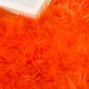 Australian Lambskin Natural fur Bedside Rug Genuine sheepskin In Orange – Bild 3