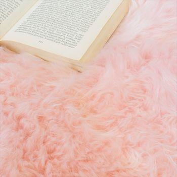Alfombrilla De Piel Natural De Cordero Australiana Y Piel De Oveja Auténtica En Pastel Y Rosa – Bild 3