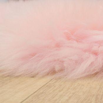 Pelliccia Di Agnello Australiana Pelliccia Naturale Scendiletto Vera Pelle Di Pecora In Rosa Pastello – Bild 2
