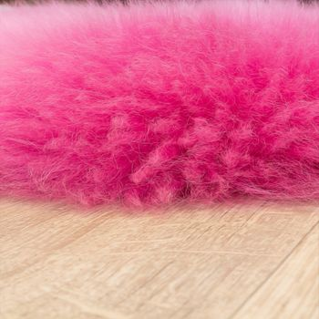 Alfombrilla De Piel Natural De Cordero Australiana Y Piel De Oveja Auténtica En Rosa – Bild 2
