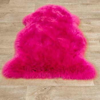 Australisches Lammfell Naturfell Bettvorleger Echtes Schaffell In Pink – Bild 4