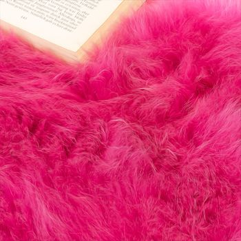 Australian Lambskin Natural fur Bedside Rug Genuine sheepskin In Pink – Bild 3