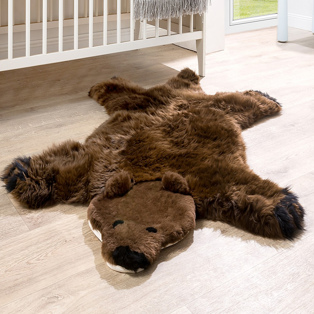 Australian Lambskin Natural fur Play mat Nursery Decorative fur Brown bear Brown