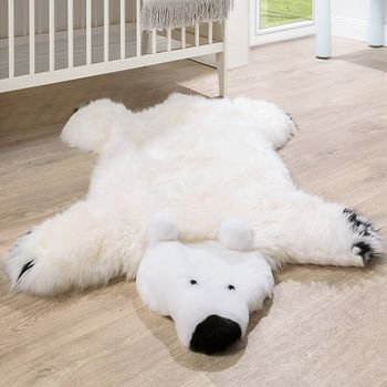 Australian Lambskin Natural fur Play mat Nursery Decorative fur Polar bear White – Bild 1