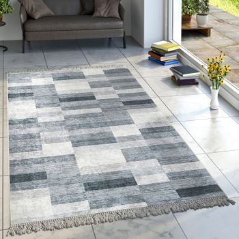 Designer Rug Living Room Rugs Checked Striped Pattern Printed Mottled Grey – Bild 1