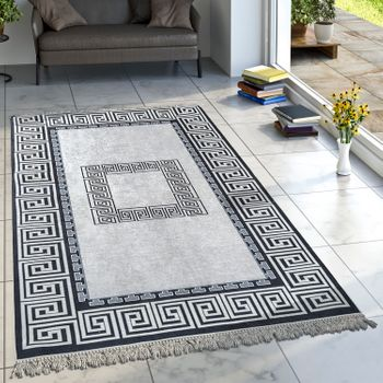 Designer Rug Living Room Rugs Oriental Pattern Printed Borders Black White – Bild 1