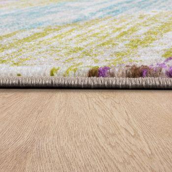 Designer Teppich Wohnzimmer Ausgefallene Farbkombination Streifen Mehrfarbig – Bild 2