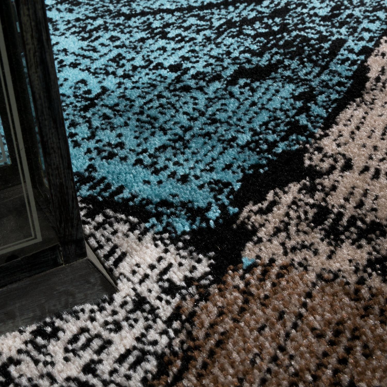designer teppich wohnzimmer ausgefallene farbkombination karo t rkis braun creme teppiche. Black Bedroom Furniture Sets. Home Design Ideas