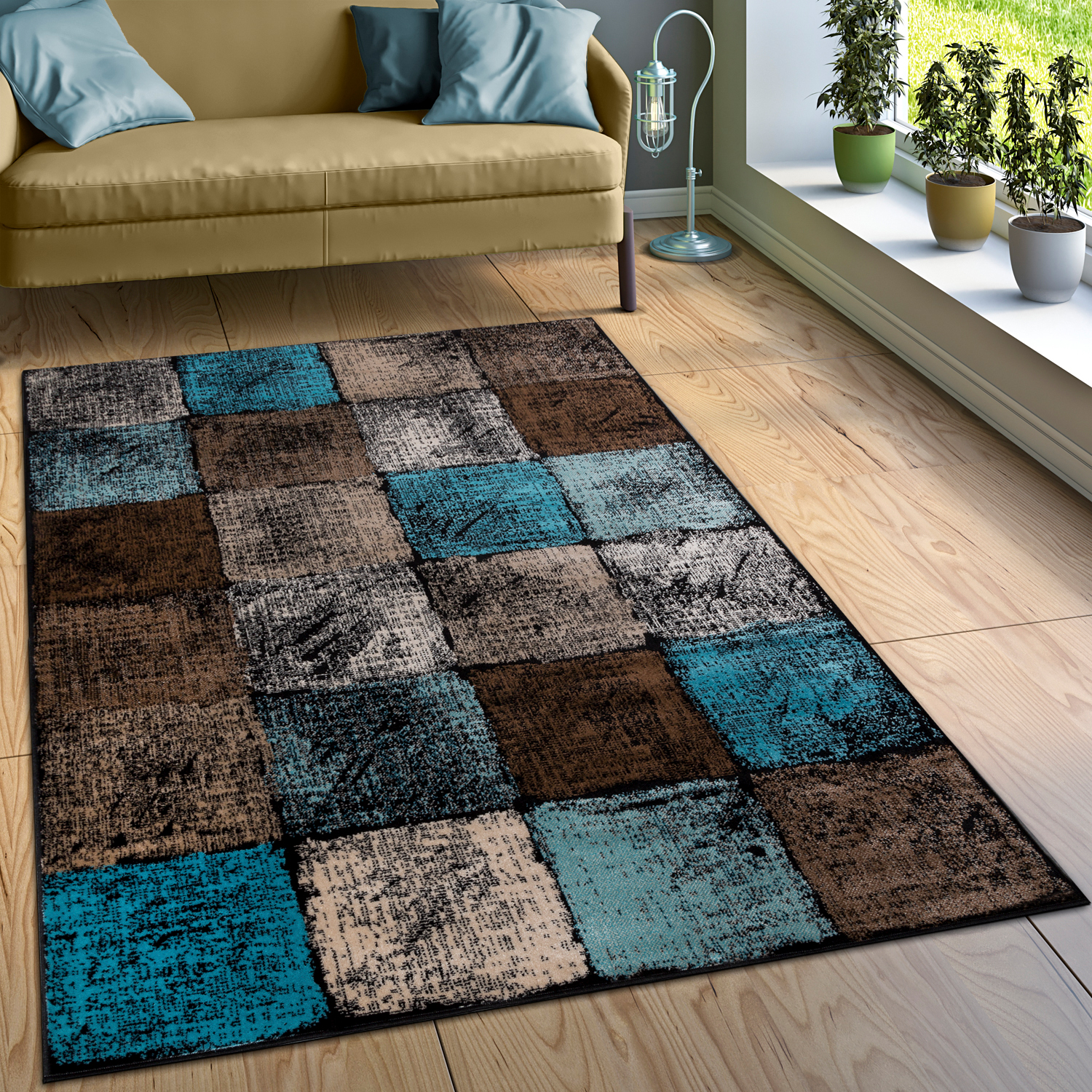 Turquoise And Brown Rug: Designer Rug Checked Turquoise Brown Cream