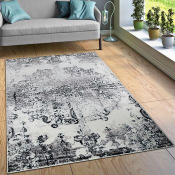Designer Teppich Wohnzimmer Teppiche Ornamente Vintage Optik Schwarz Weiß – Bild 1