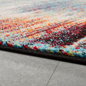 Designer Teppich Modern Wohnzimmer Ölgemälde Abstrakt Rost Optik in Rot Schwarz – Bild 2