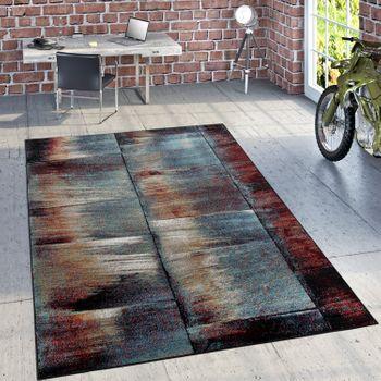 Designer Teppich Modern Wohnzimmer Ölgemälde Abstrakt Rost Optik in Rot Schwarz – Bild 1