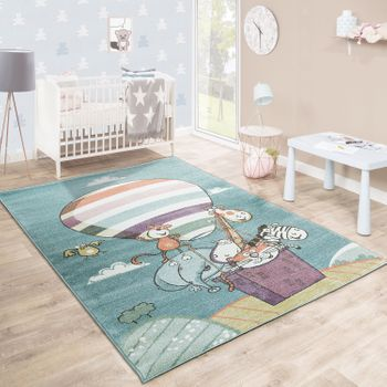 Children'S Rug Playroom Jumbled Zoo Animals Air Balloon Playful Multicoloured – Bild 1