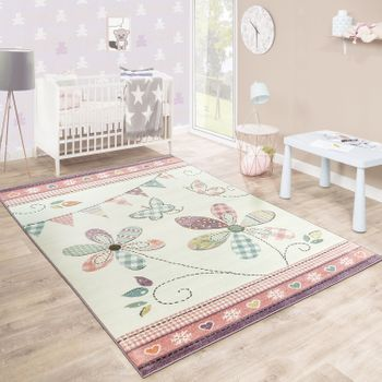Children'S Rug Girls Room Playful Floral Pastel Colours Pink White Cream – Bild 1
