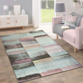 Designer Rug, Checked Pattern, Multicoloured