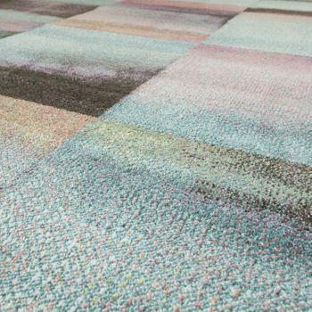 Designer Teppich Modern Wohnzimmer Farbverlauf Karo Muster Pastell Grün Gelb Lila – Bild 3