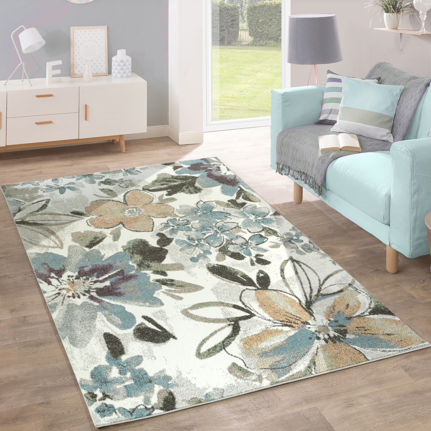 Designer Rug Modern Living Room Flowers Pattern Pastel Tones In Grey Blue Cream