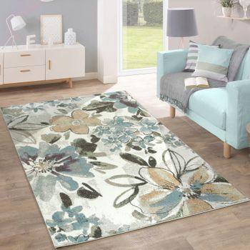 Designer Teppich Blumen Grün Blau Creme