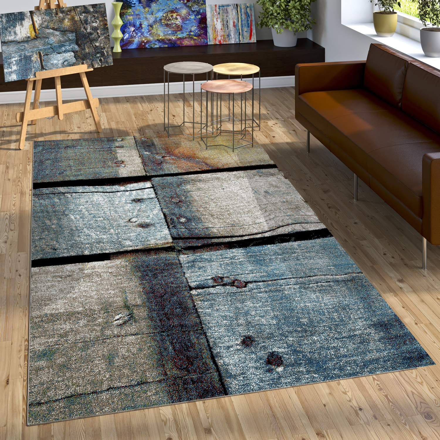cr ateur tapis bois style effet relief naturel tons bleu gris rouille tapis tapis poil ras. Black Bedroom Furniture Sets. Home Design Ideas