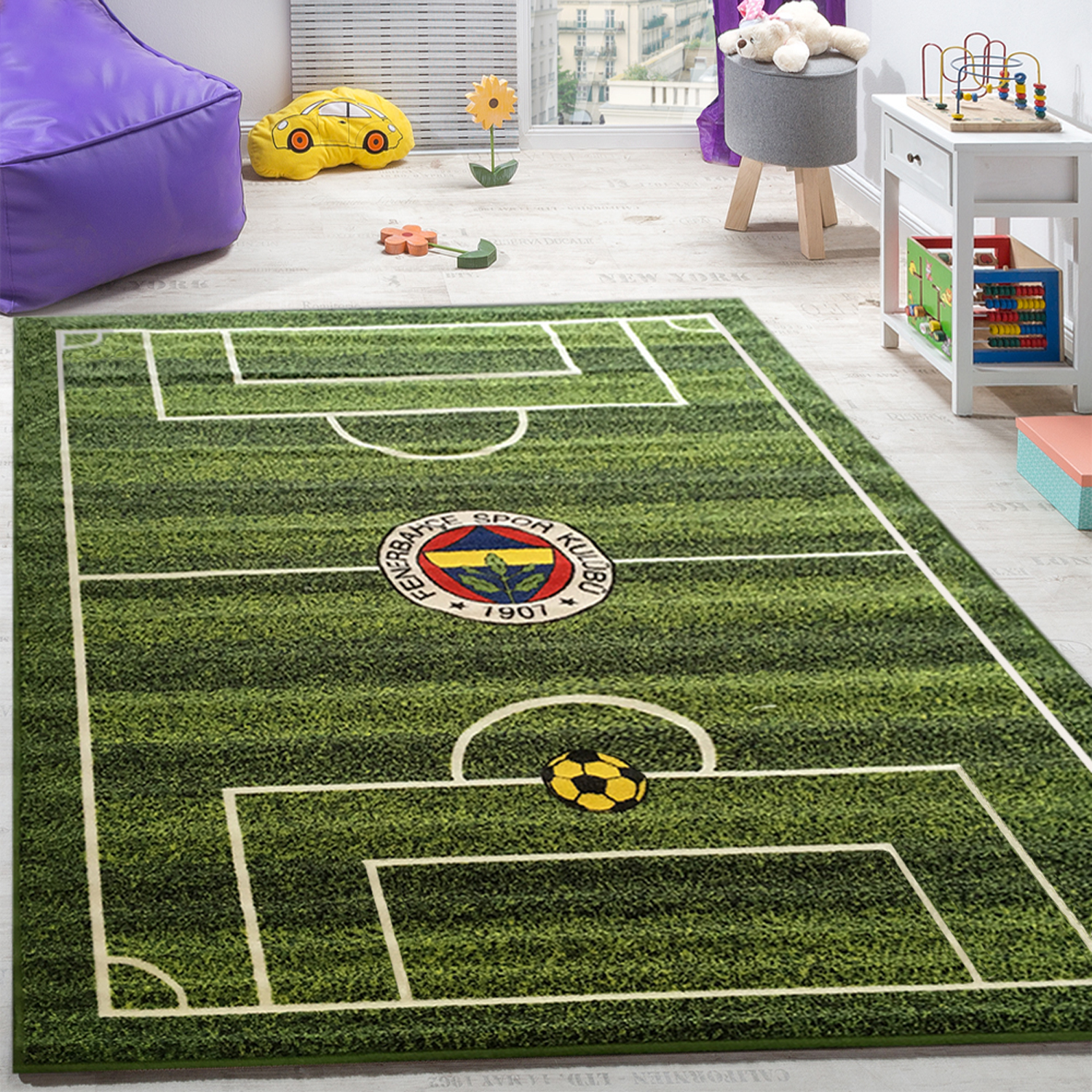 Children's Rug Football Printed Green