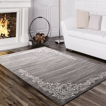 Designer Rug Elegant Long Deep Structure Shimmering Yarn Floral Pattern Mottled White Grey – Bild 1