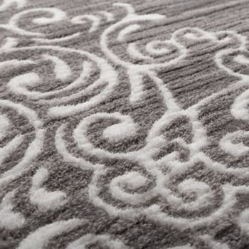 Designer Rug Elegant Long Deep Structure Shimmering Yarn Floral Pattern Mottled White Grey – Bild 3