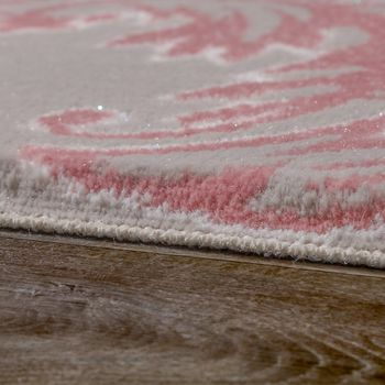 Designer Rug Elegant Long Deep Structure Shimmering Yarn Baroque Pattern White Grey Pink – Bild 2