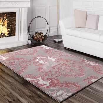Designer Rug Elegant Long Deep Structure Shimmering Yarn Baroque Pattern White Grey Pink – Bild 1