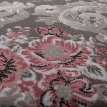 Designer Rug Elegant Long Deep Structure Shimmering Yarn Flowers Ornamental Grey Pink – Bild 3