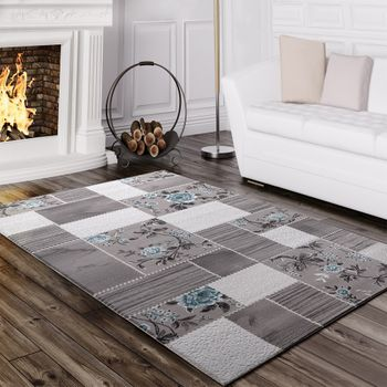 Designer Rug Elegant Long Deep Structure Shimmering Yarn Checked Striped Grey Turquoise – Bild 1