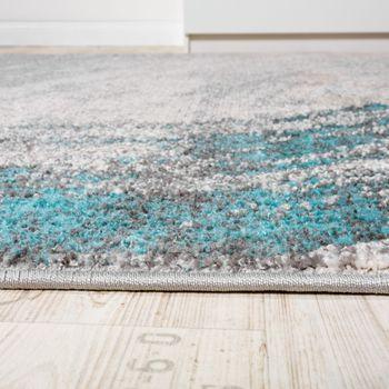 Edler Designer Teppich Hochtief-Effekt Kurzflor Türkis Grau Meliert AUSVERKAUF – Bild 2
