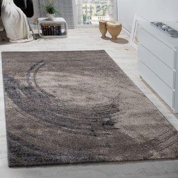 Edler Designer Teppich Hochtief-Effekt Kurzflor Beige Grau Meliert AUSVERKAUF – Bild 1